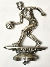Vintage Old 1950s Silver Heavy Metal Basketball Player Trophy Topper Weidrich