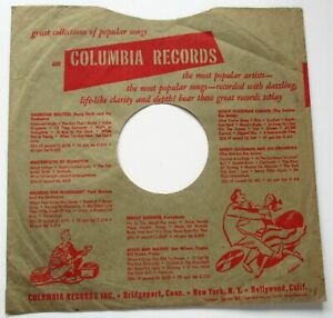 VINTAGE U.S. 78 RPM RECORD SLEEVE FOR US COLUMBIA  RECORDS 1950's