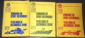 Lot of 3 FIA Year Book of Automobile Sport (French/English) 1974, 1976, 1977