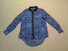 Rock & Republic,blue & black geometric sheer  button down shirt,womens 8