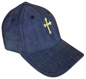 Blue Denim Christian Cross Adjustable Curved Bill Baseball Cap Caps Hat Gold OL