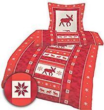 Biber Betwäsche 2tlg. Elch Elche Renntier Rot Übergöße 155x220 cm Weihnachten