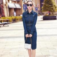 Women Hot New Casual Slim Short Denim Dress Turn Down Collar Long Sleeve Dresses