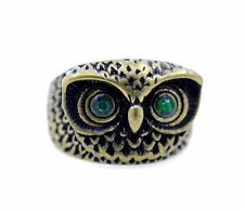 Vintage retro style chunky crystal eyed owl ring, UK Size M, multiple choices