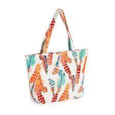 Ladies Peach Tone Feather Print Bag Womens Handbag Beach Bag