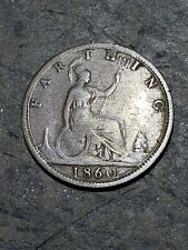 1860 QUEEN VICTORIA - BRONZE FARTHING COIN #12222XA