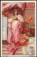 Red Poppy Woman  Art Nouveau Trade  Ad Card c1900