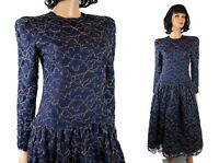 80s Prom Dress Sz S Vintage Talbots Dark Blue Gold Lace Cocktail Evening Gown