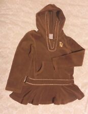 Gymboree Glamour Kitty Cat Brown Velour Hooded Drop Waist Top Size 6