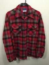 Pendleton Men's Board Shirt Large Virgin Wool Loop Collar Black Red Shadow Plaid