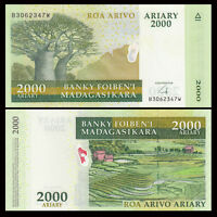 Madagascar 2000 Ariary Banknote, 2009, P-90b, UNC, Africa Paper Money