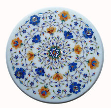 "12"" marble side end table Top marquetry pietra dura inlay art decor"