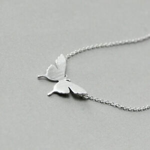 Butterfly Pendant Chain Necklace 925 Sterling Silver Womens Jewellery Love Gifts