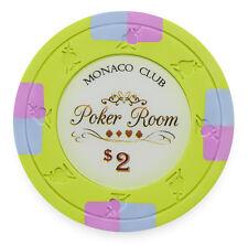 "25 ct Lime Green $2  ""Monaco Club"" Series 13.5 Grams Poker Chips"