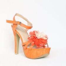Plataforma con tiras sandalias 39 naranja pumps tacón alto stilettos Shoes xw9041.