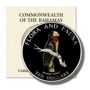 Bahamas Parrot $10 1995 5 Oz Proof Colored Silver Crown KM-167 Mintage 2,500 Coi