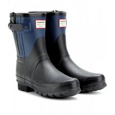 Hunter Limited Rag & Bone Black-Blue Low Zipper Rain Boots US7 EU38 Gummistiefel