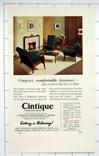 THE CINTIQUE CHAIR COMPANY LONDON ~ Upholstered Furniture ~ Old 1954 Advert