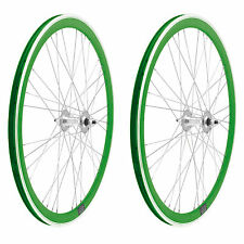 2x Llanta Rueda para Bicicleta Fixed Fixied 700 Aluminio Rodamientos VERDE 3750
