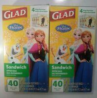 Lot of 2 Boxes Disney Frozen Glad Sandwich Zipper Bags 80 Bags Total