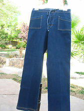 FRESH PRODUCE DARKWASH BLUE DENIM JEANS WOMEN'S Sz S SNAP CLOSE W/CINCH STRING