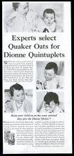 1935 Dionne Quintuplets Quints 4 photo Quaker Oats vintage print ad