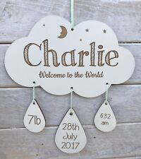 Personalised Name Cloud Mobile Nursery Decor Baby Gift Welcome to the World