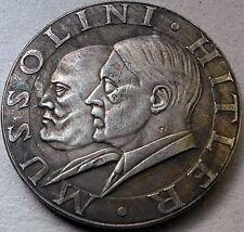 Adolf Hitler & Benito Mussolini reunión moneda Alemana Tercer Reich Segunda Guerra Mundial