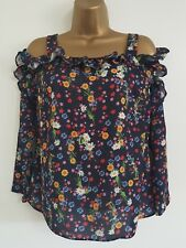 NEW Ex Debenhams 8-18 Cold Shoulder Ruffle Floral Print Navy Tunic Top Blouse
