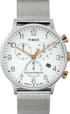 Timex Waterbury Chronograph TW2T36700 - Mens Watch Stainless Steel - Meshband