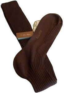 Loro Piana Cashmere and Silk Maroon Socks Size Large Made in Italy