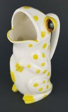 Schmid Design Folio Porcelain Frog Pitcher White with Yellow Polka-Dots