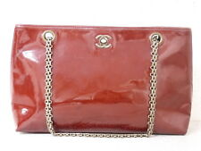 rk5103 Auth CHANEL Red Patent Leather CC Chain Shoulder Bag
