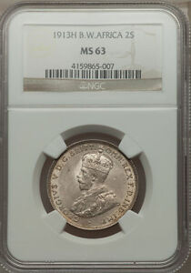 1913-H British West Africa 2 Shillings NGC MS 63 Rare 2 in 63 None Finer @ NGC