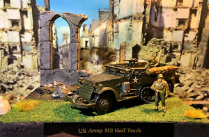 WW 2 Diorama 28mm(1/56) US Army M3 Half Track With 5 Figures ( Hand Painted )