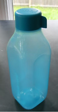 Tupperware Aqua Blue Square Water Bottle Eco Ecco Tumbler - 16 oz Screw Seal New