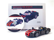 Lego Custom Black Sports Car with Red Stripes Building Set  City Town