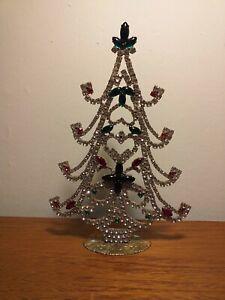 ANTIQUE CZECH CRYSTAL RHINESTONES CHRISTMAS TREE DECORATION ORNAMENT ORIGINAL XL