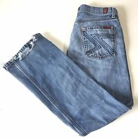 7 For All Mankind Flynt Jeans Women S 30 X 28 Boot Cut Stretch Medium Wash
