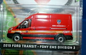 2019 F.D.N.Y. FORD TRANSIT EMS DIVISION 3 VAN 1/64 scale by GREENLIGHT LTD EDT.