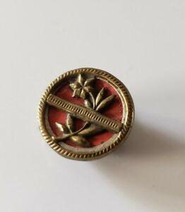 Antique Victorian Flower Red Button