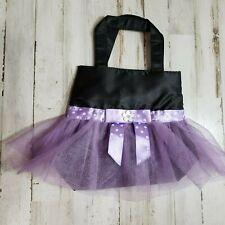 Womens Girls Handbag Gift Bag OS Black Purple Tulle Skirt Polka Dot Ribbon Trim