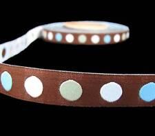 "5 Yds Brown Blue Woven Jacquard Dog Collar Trim Ribbon 5/8""W"
