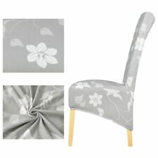 New For Christmas Chair Cover Grey And White Flower Long Back Europe Style Seat