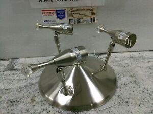 Vintage Mid Century Modern Atomic Style Silver Metal Flush Mount Light E3R (#B3B