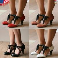 USA Women kitten Mid Heel Mary Jane Shoes Lace Up PU Leather Round Toe Dance