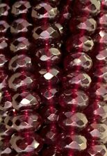 Beads Faceted Gemstone Rondelle Czech Glass Ruby 9mm 300 beads lot