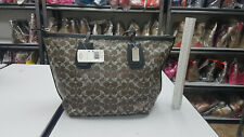Coach F33504 Brown Black Coated Signature Taxi Zip Top Tote Bag
