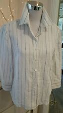 Sportscraft 12 pure linen shirt top blouse white with stripe work or play
