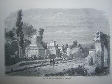 gravure 19° La rue des tombeaux à Pompei Italie